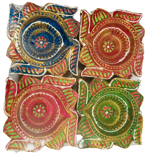 Desiner Clay Diwali Diyas (Candles) - Design4 - 4 pcs