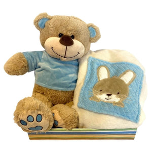 Personalised Luxury blanket & Teddy Hamper - Blue