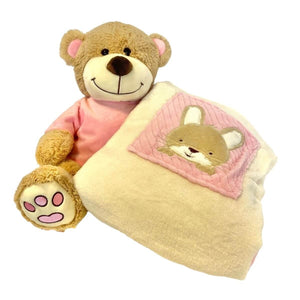 Personalised Luxury blanket & Teddy Hamper - Pink