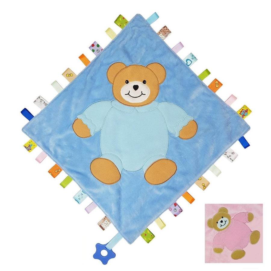 Personalised Taggy Comforter With Teething Rings