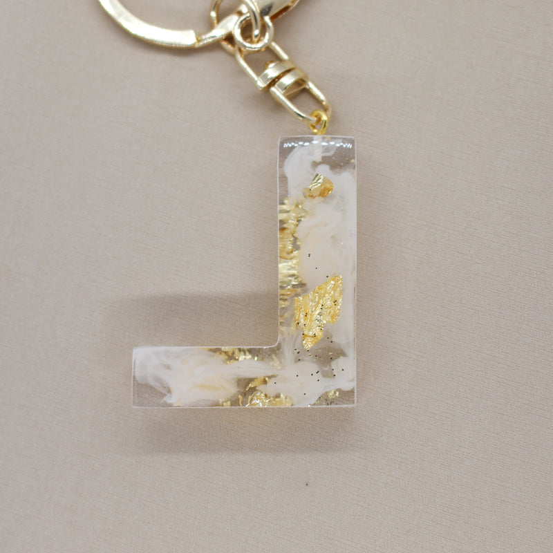 Resin Keychain Letter 'L', Beige