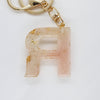 Resin Keychain Letter 'R', Peach