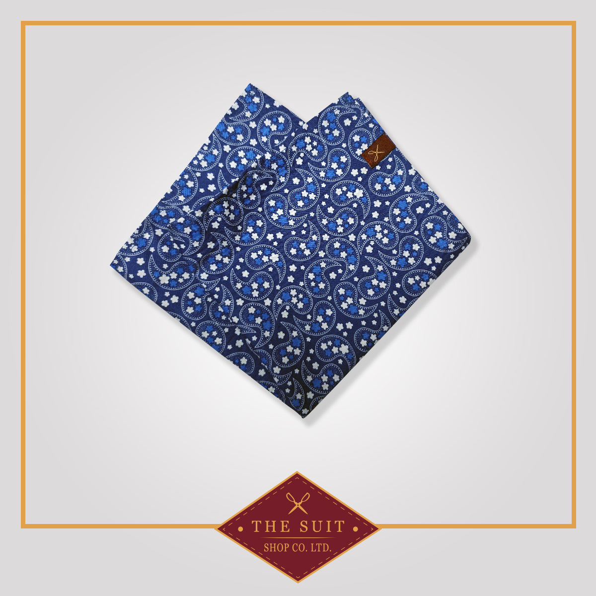 Navy Paisley Patterned Pocket Square