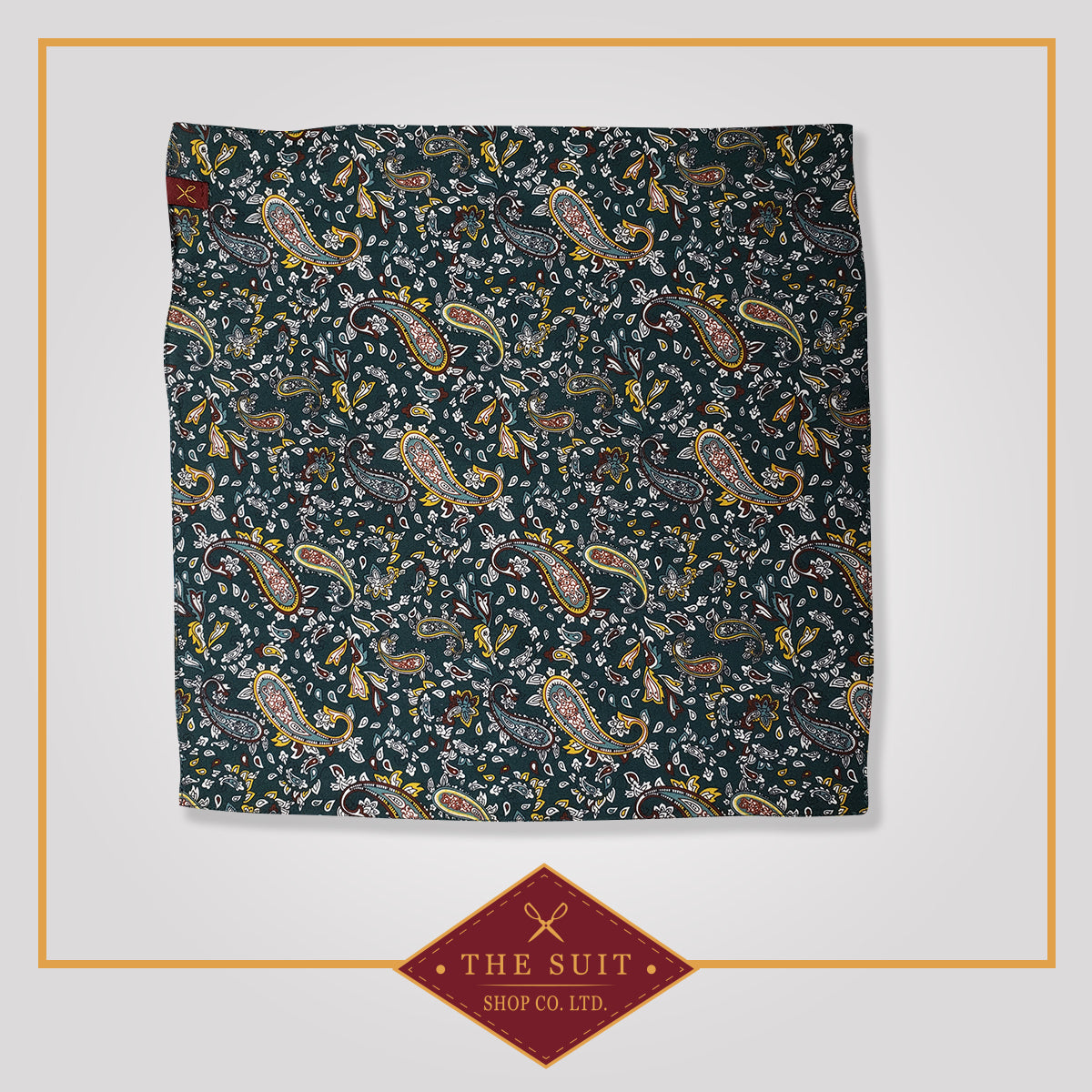Green Base Paisley Patterned Pocket Square