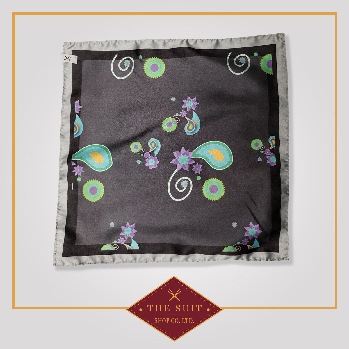 Dark Paisley Patterned Pocket Square