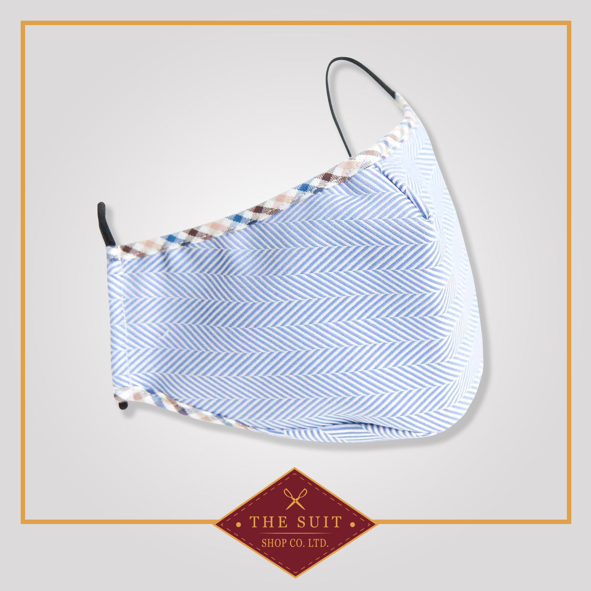 Blue Diagonal Striped Plaid Trim Face Mask