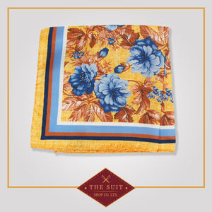Sea Buckthorn Patterned Silk Pocket Square