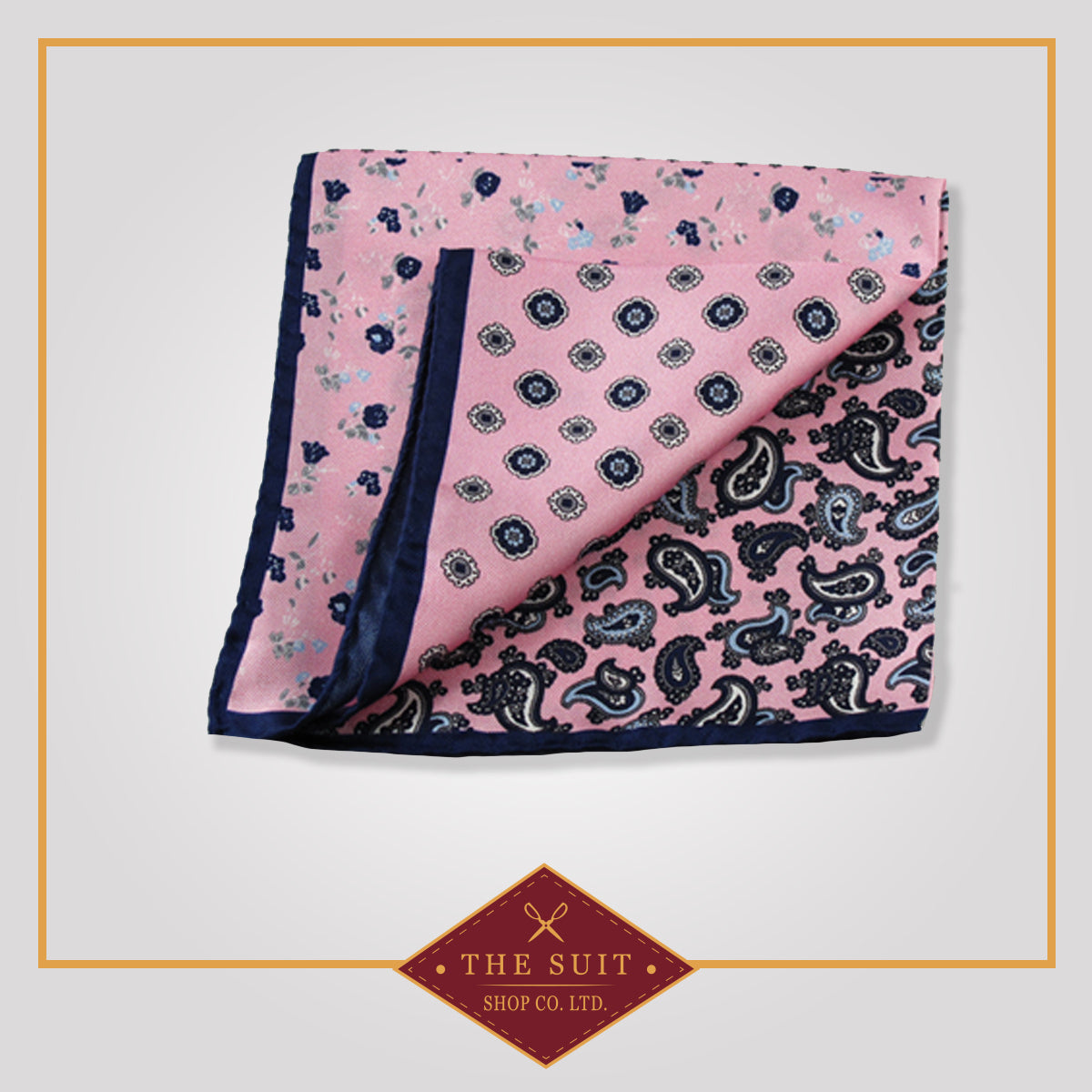 Blossom Patterned Silk Pocket Square