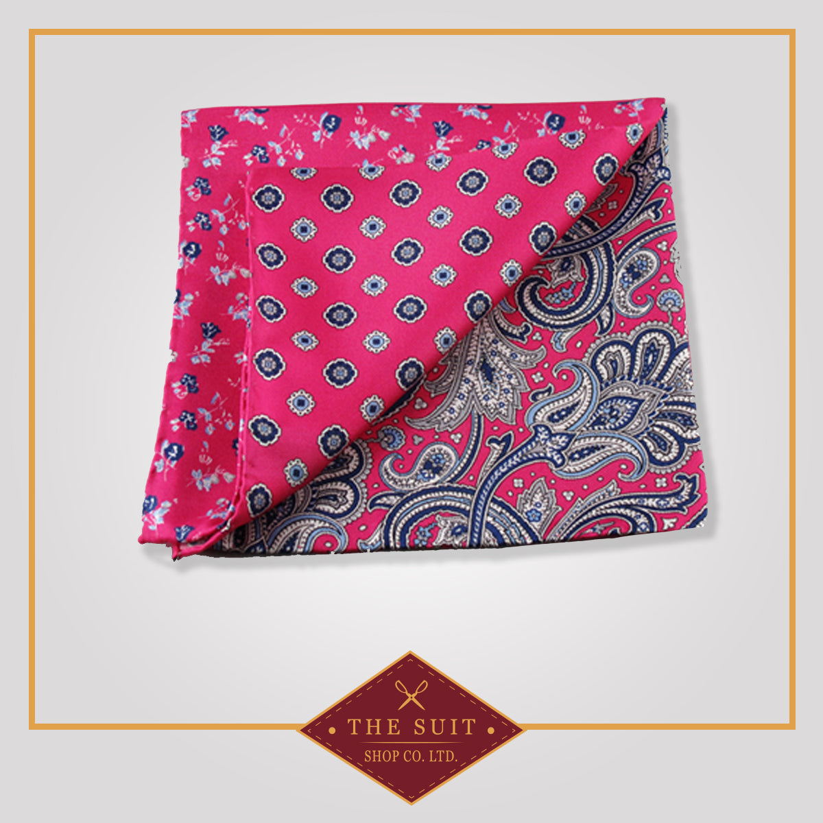 Amaranth Patterned Silk Pocket Square