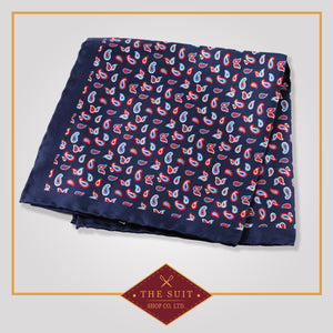 Cloud Burst Paisley Patterned Silk Pocket Square