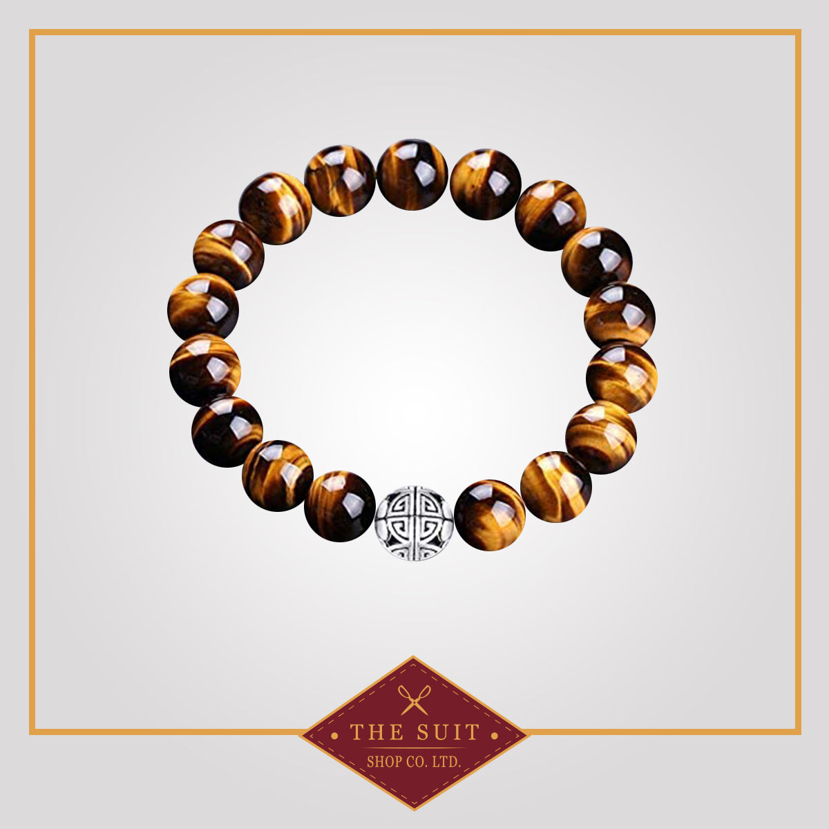 Tiger Eye Gemstones Beaded Bracelet with 925 Silver Pendant