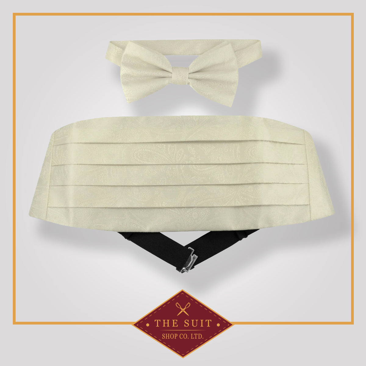 Cummerbund & Bow Tie Off-WHITE PAISLEY Set