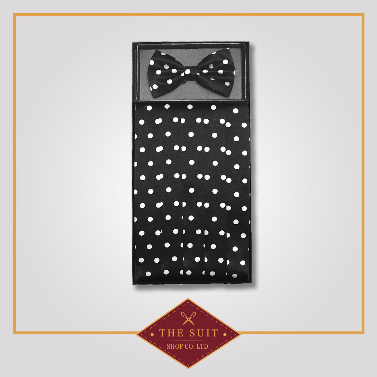 Cummerbund & Bow Tie BLACK w/ WHITE POLKA DOTS Set