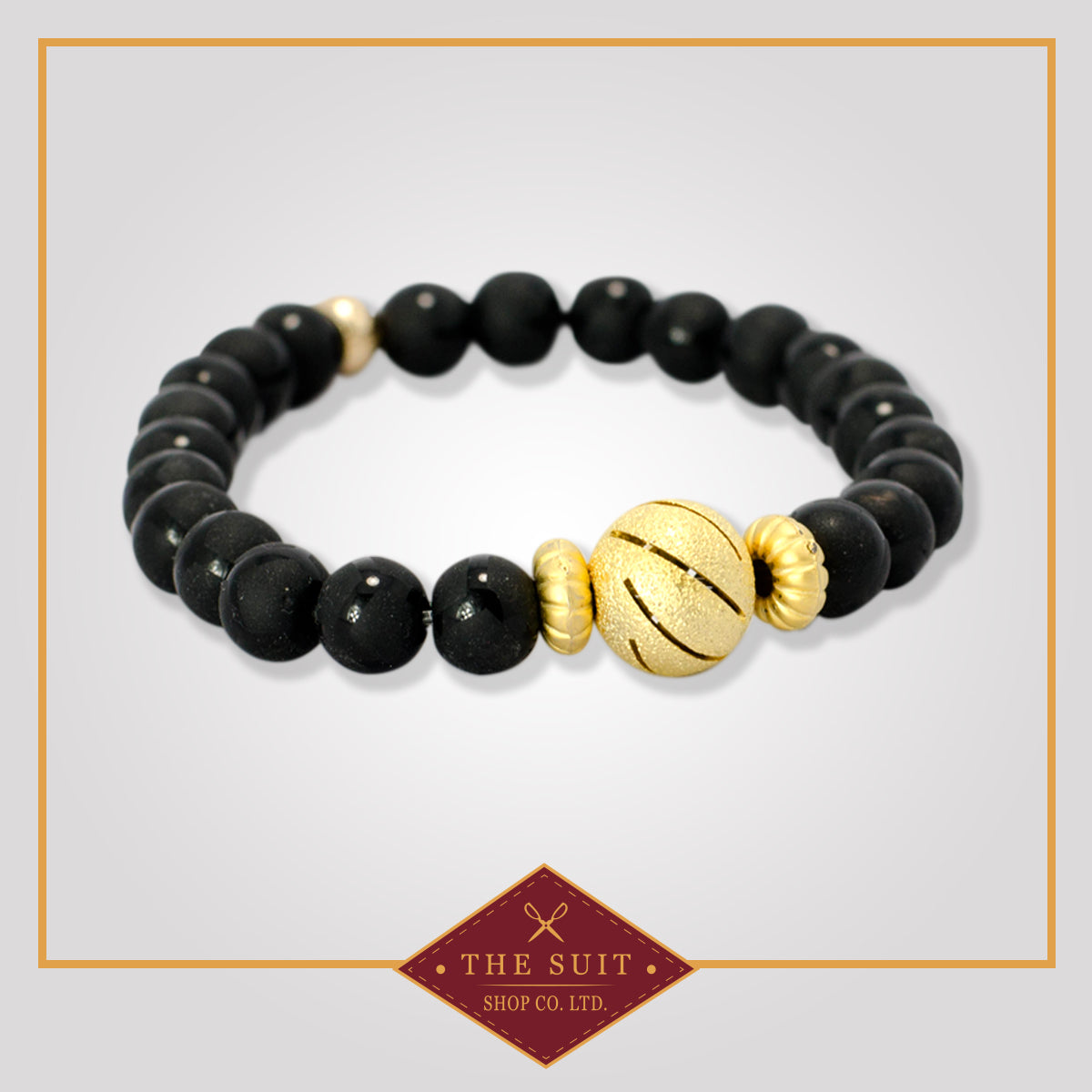 Black Stone Bracelets with Gold-tone ball