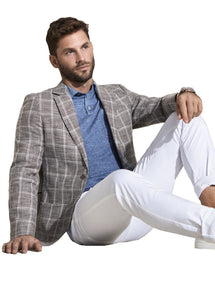 Beige Windowpane Jacket