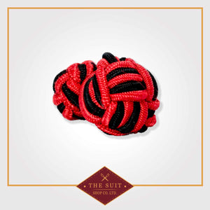 Red and Black Silk Knot Cuff Links