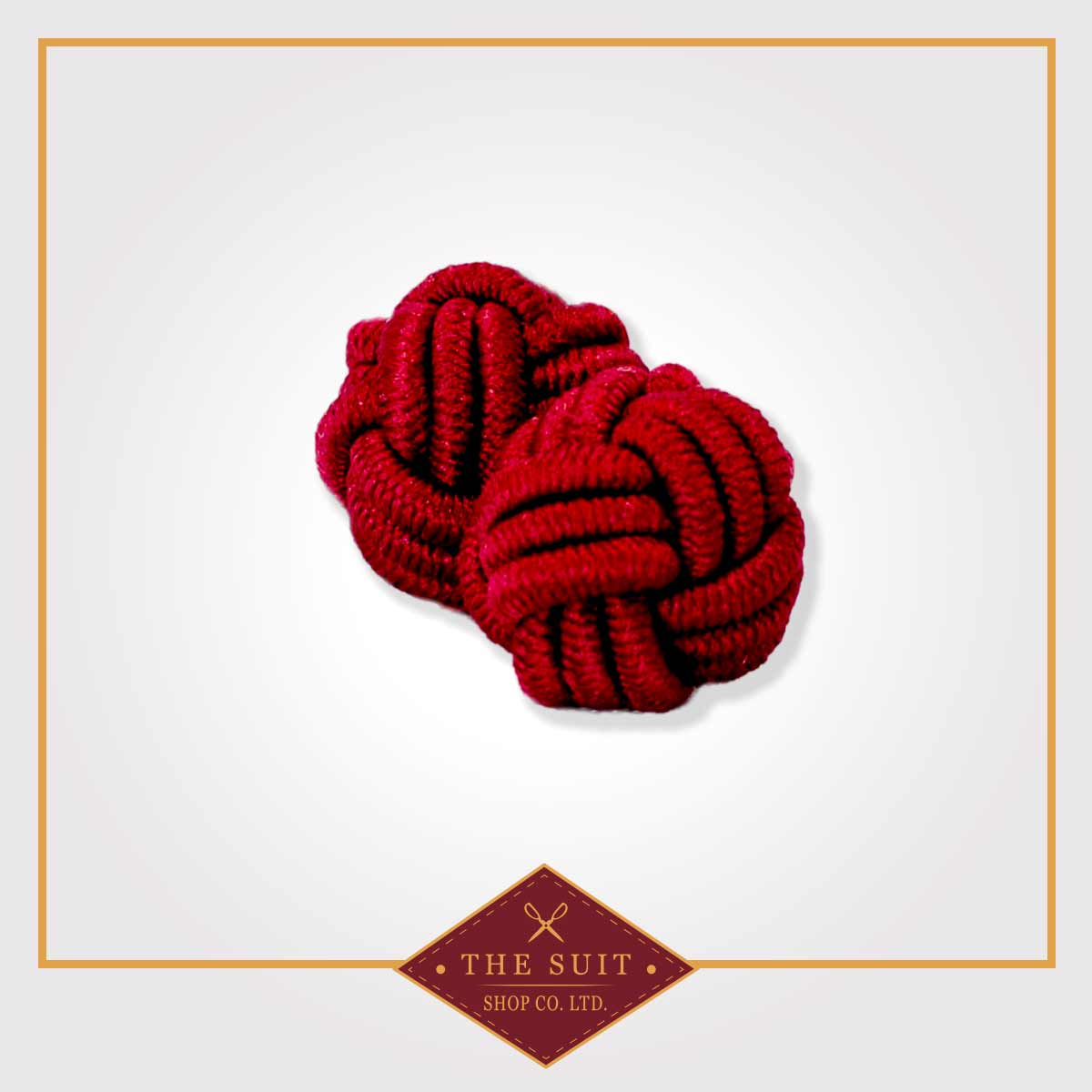 Crimson Red Silk Knot Cuff Links