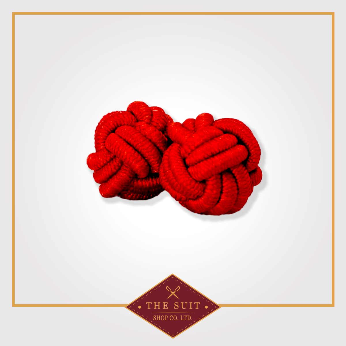Red Silk Knot Cuff Links