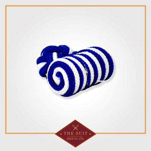 Blue and White Silk Knot Cuff Links