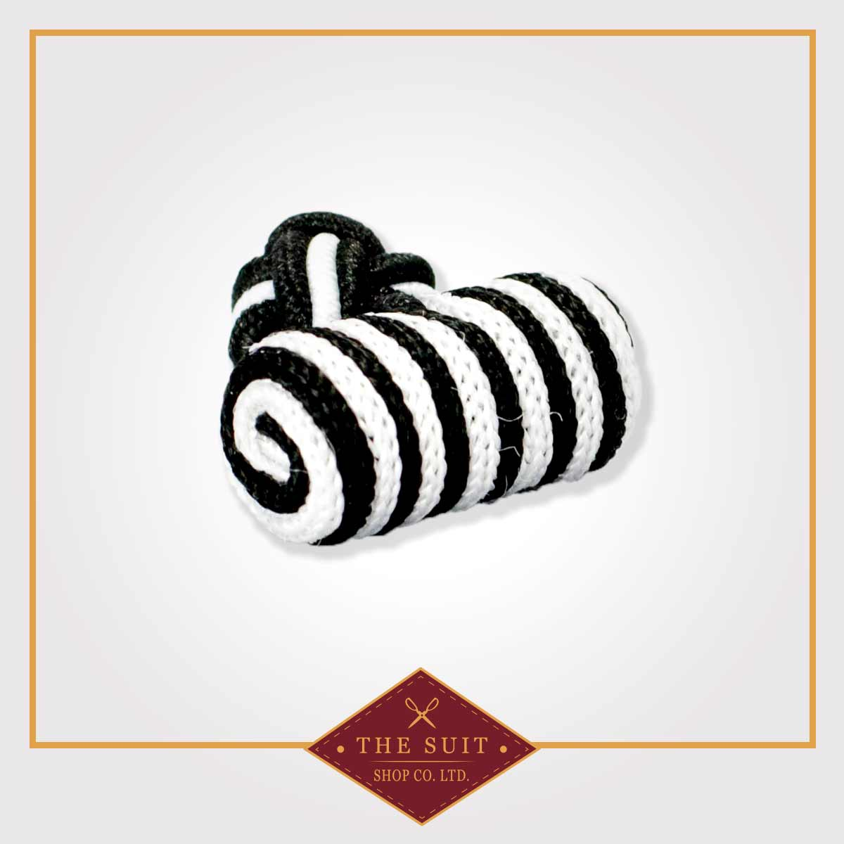 White and Black Silk Knot Cuff Links