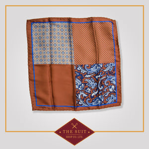 Sepia Skin and Biscay Patterned Pocket Square