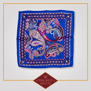 Cerulean Blue and Cadillac Paisley Patterned Pocket Square