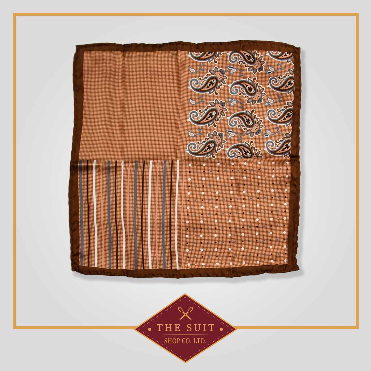 Coffee Bean and Leather Patterned Pocket Square