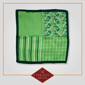 English Holly and Apple Patterned Pocket Square