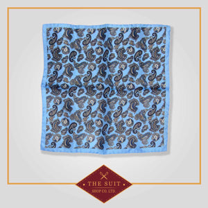 Cornflower and Cloud Burst Paisley Patterned Pocket Square