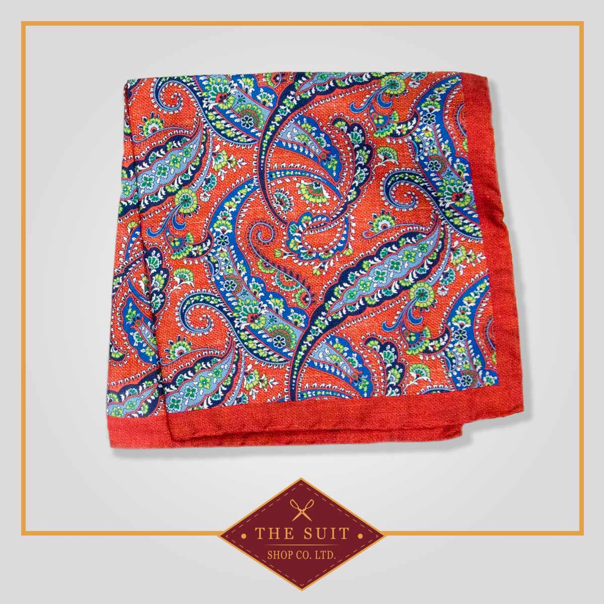 Milano Red and Polo Blue Paisley Patterned Pocket Square