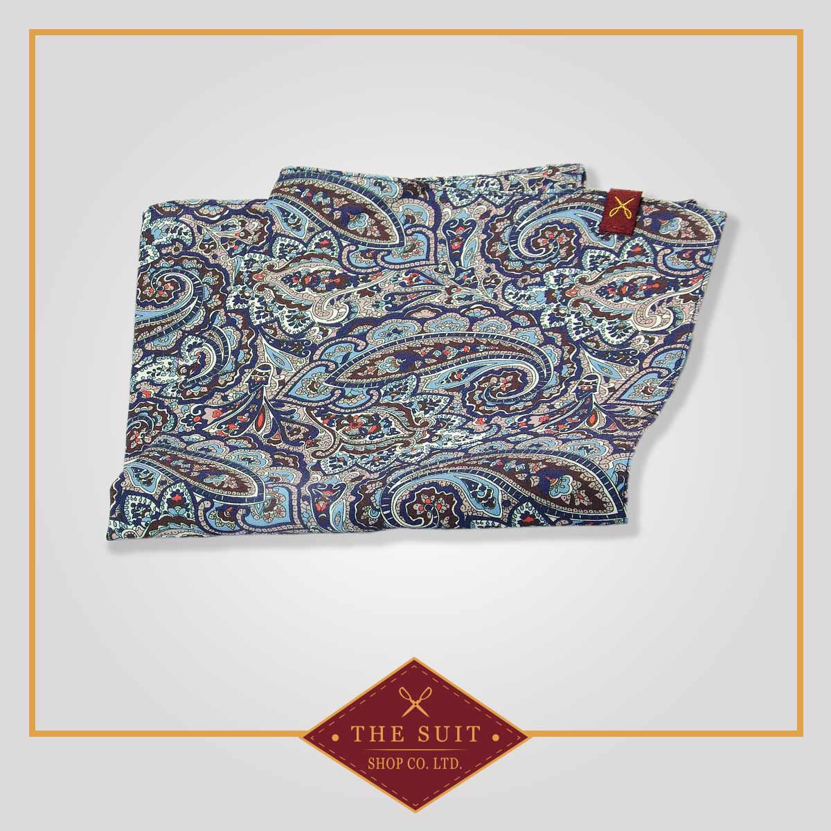 Martinique and Nepal Paisley Patterned Pocket Square