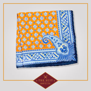 Sunshade and Tropical Blue Patterned Pocket Square