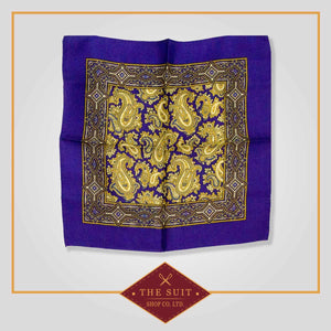 Persian Indigo and Luxor Gold Patterned Pocket Square