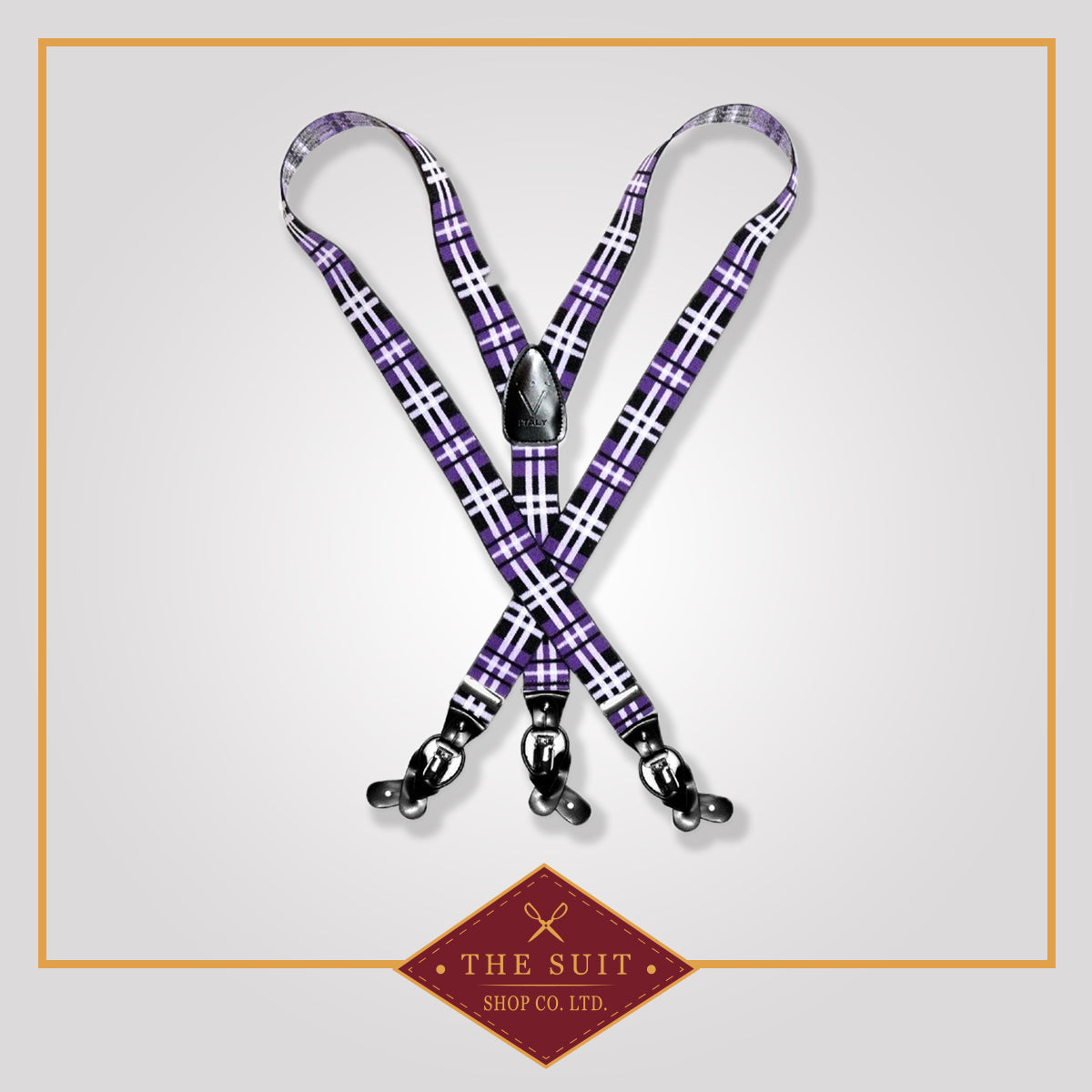 Purple Plaid Suspenders