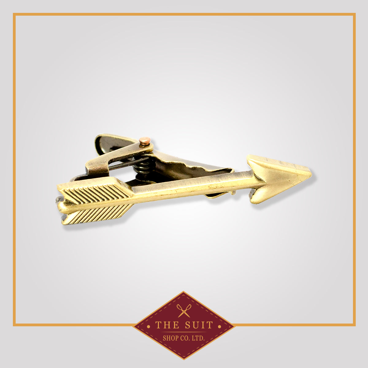Rustic Gold Metallic Arrow Tie Clip