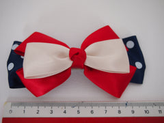Nautical - Ahoy Matey Red Hair Bow Clips