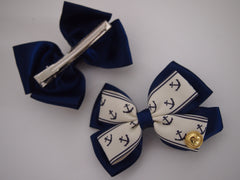 Nautical - Ahoy Matey Navy Hair Bow Clips