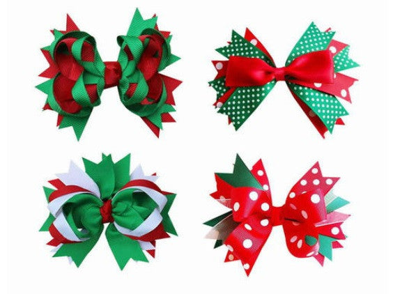 Xmas - Christmas Hair Bow Clips