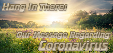 Hang in there - Our message regarding coronavirus. Background image depicts a sun shining on a grassy pasture.