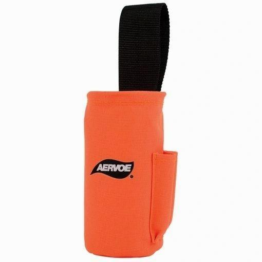 Aervoe Spray Can Pouch. An Orange pouch with a black strap. A big slot for a spray can and two smaller side pouches for caps and other miscellaneous items.