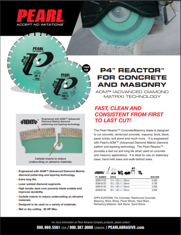 P4 Reactor For Concrete and Masonry Specs Sheet