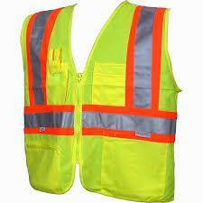 Class 2 Safety Vest. Neon with reflective silver and orange stripes.