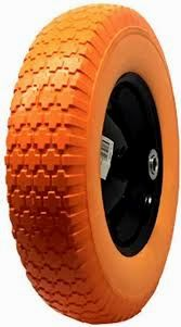 National Standard Universal Fit, Flat Free Wheelbarrow Tire (Orange)