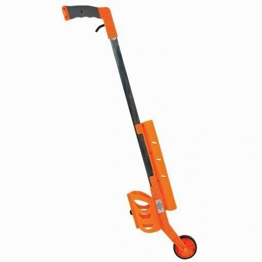 aervoe orange marking stick. Has a wheel and trigger so it can be walked along the ground.