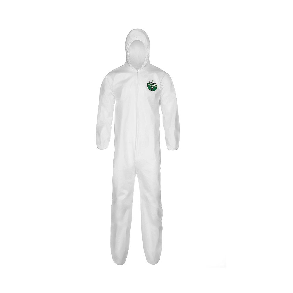 Lakeland MicroMax NS Microporous General Purpose Disposable Coverall with Hood, Elastic Cuff, Large, White (Case of 25)