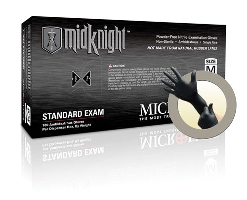 Microflex Midknight Black Nitrile Gloves (Medium) - Box of 100