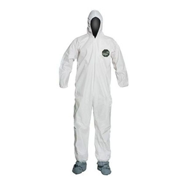 White Tyvek  Coverall Suit with hood and boots.
