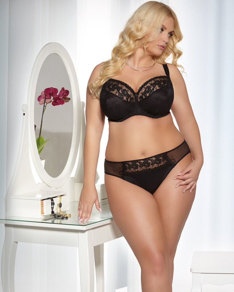 Black Brilliant Soft Cup Bra in Bands 44 through 50