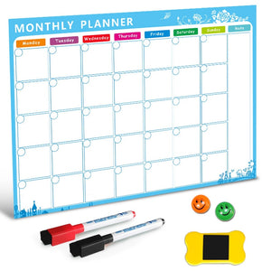 Open image in slideshow, Dry Erase Magnetic Calendar, Fridge Magnetic Calendar, White Board Planner for Refrigerator, Monthly Planner for Kitchen