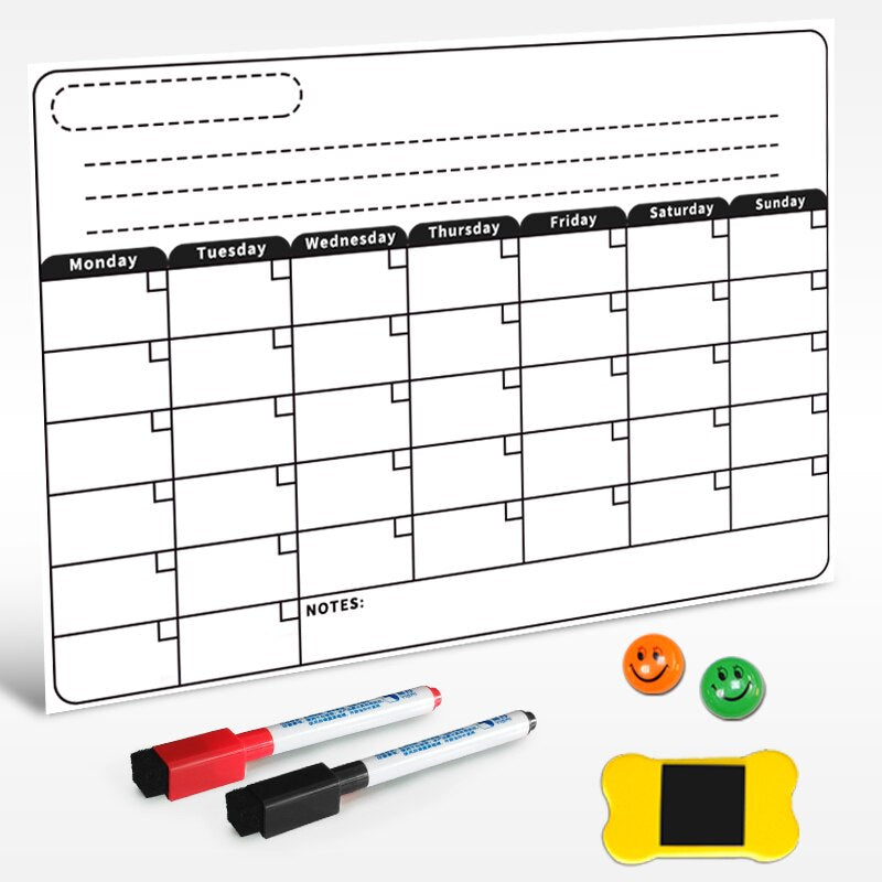 Dry Erase Magnetic Calendar, Fridge Magnetic Calendar, White Board Planner for Refrigerator, Monthly Planner for Kitchen
